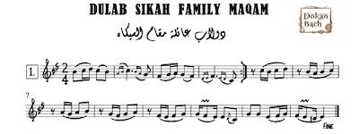 Dulab Sikah Family Maqam Music Sheet