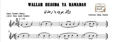 WAllah beaoda ya Ramadan Music Sheet